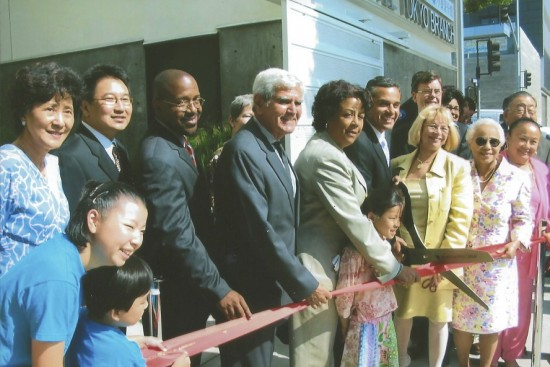 Participants in the ribbon-cutting in 2005 included Cathy Chang (former senior librarian), Larry Kuromiya (Friends president and former treasurer), Los Angeles Public Library Commission members, City Councilmember Jan Perry, Mayor Antonio Villaraigosa, City Engineer Gary Lee Moore, City Librarian Fontayne Holmes, and Board of Library Commission members Rita Walters (former city councilmember) and Geri Witt.