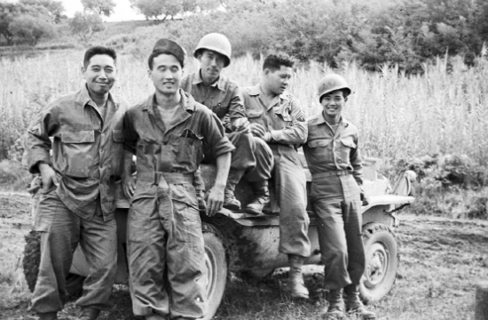 Photo by Sus Ito of 522nd Service Battery personnel near Rosignano, Italy, in 1944.