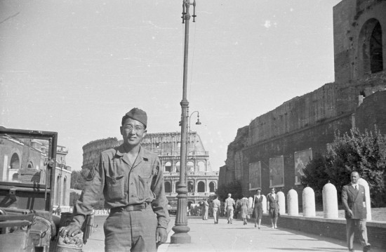 Sus Ito on R&R in Rome,, 1944. The Colosseum is in the background.