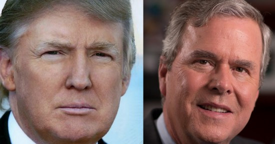 Presidential candidates Donald Trump and Jeb Bush.