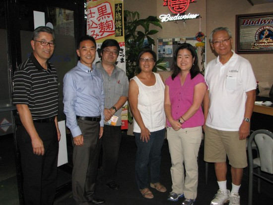 Event committee members include (from left) Jon Kaji, Mike Okamura, J.K. Yamamoto, Amy Kato, Gwen Muranaka and Bill Watanabe. (Rafu Shimpo photo)