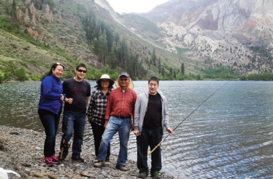 The Watanabe family fishing at Convict Lake.