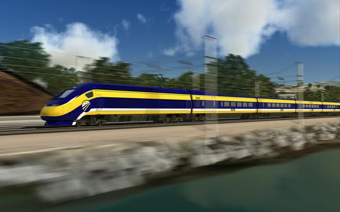 ロサンゼルスとサンフランシスコ間を約3時間で結ぶ加州高速鉄道のイメージ図(加州高速鉄道当局提供)
