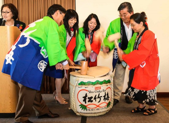 OCG celebrated with the traditional kagami-biraki (sake barrel ceremony).