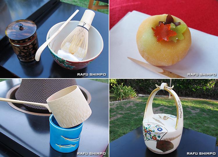 本席で振る舞われた主菓子の「薄紅葉」(写真上右)と、立礼席で用いられた茶道具