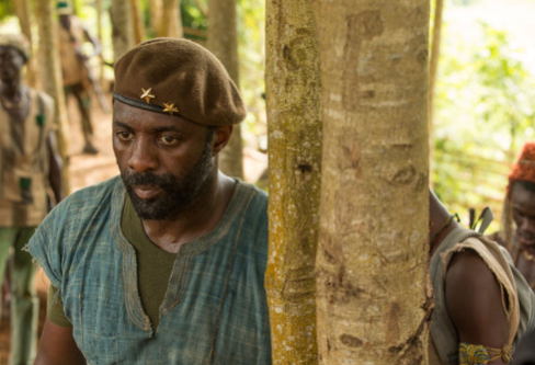 "Idris Elba in a scene from ""Beasts of No Nation."""
