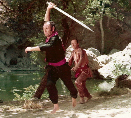 "Bill Saito and David Carradine in scene from ""Kung Fu."""