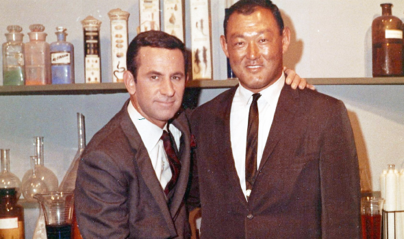 "Bill Saito with Don Adams on the set of ""Get Smart."""