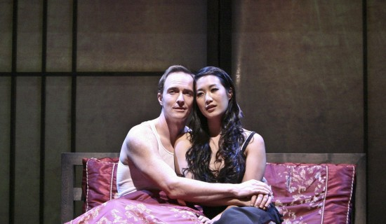 "Vice Minister of Culture Xi Yan (Kara Wang) and American businessman Daniel Cavanaugh (Matthew Jaeger) in a scene from David Henry Hwang's ""Chinglish."" (Photo by Michael Lamont)"