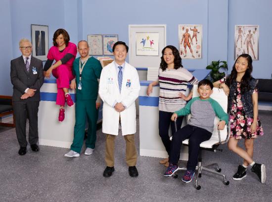"The cast of ""Dr. Ken"" (from left): Dave Foley, Tisha Campbell-Martin, Jonathan Slavin, Ken Jeong, Suzy Nakamura, Albert Tsai, Krista Marie Yu. (ABC)"