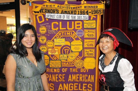 Miss Optimist Tori Nishinaka-Leon (left) and JAO President Eileen Yoshimura at the 62nd installation luncheon on Sept. 27. Yoshimura is in costume, a tradition of JAO to dress the incoming president.