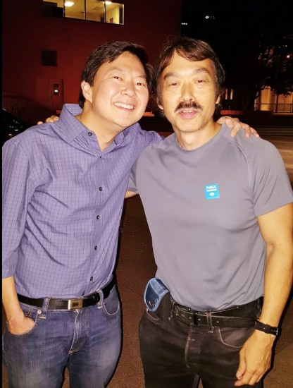 "Ken Jeong and Guy Aoki at a screening of ""Dr. Ken"" at the Japanese American National Museum."