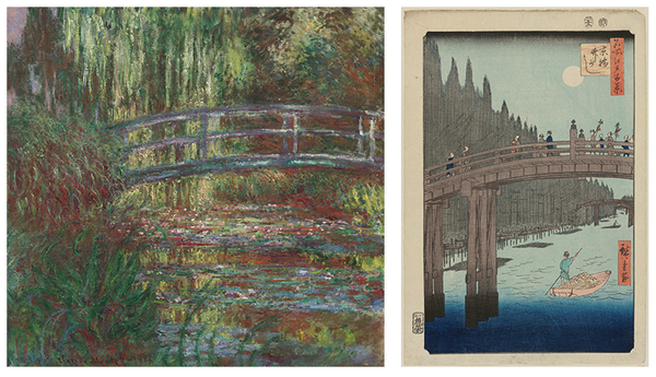Left: The water lily pond, 1900, by Claude Monet (French, 1840–1926). Oil on canvas. Museum of Fine Arts, Boston, Given in memory of Governor Alvan T. Fuller by the Fuller Foundation, 61.959. Photograph © 2015, MFA, Boston. Right: Bamboo Yards, Kyobashi Bridge, from the series One Hundred Famous Views of Edo, 1857, by Utagawa Hiroshige (Japanese, 1797–1858). Woodblock print; ink and color on paper. Museum of Fine Arts, Boston, William Sturgis Bigelow Collection, 11.26350. Photograph © 2015, MFA, Boston.