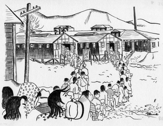 "Miné Okubo, ""Waiting in lines, Tanforan Assembly Center, San Bruno, California,"" 1942. Drawing. Courtesy of Japanese American National Museum, gift of Miné Okubo Estate, 2007.62."