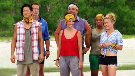 """Survivor"" contestants (front row) Woo, Peih-Gee, Abi; (back row, center) Jeff Warner."