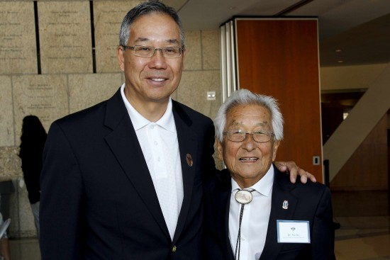 "Sus Ito with Don Nose, president of the Go For Broke National Education Center, at JANM during an event held in conjunction with ""Before They Were Heroes."""