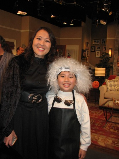 Suzy Nakamura and her TV son, Albert Tsai, after completing the Halloween episode. (J.K. YAMAMOTO/Rafu Shimpo)