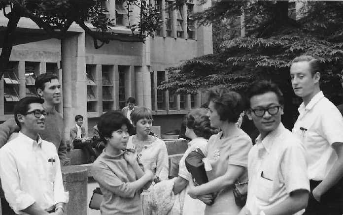 Some members of the Kokusaibu group on the Waseda campus in September 1967. Bill Watanabe is second from right. Others in the photo came from places such as Hawaii, St. Louis, Yuba City, and Los Angeles.