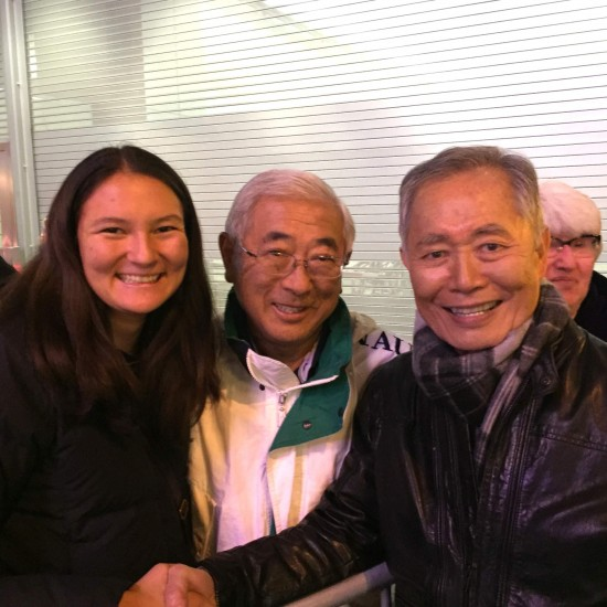 "Floyd Mori (Center) and granddaughter Maiya Larsen with ""Allegiance"" star George Takei."