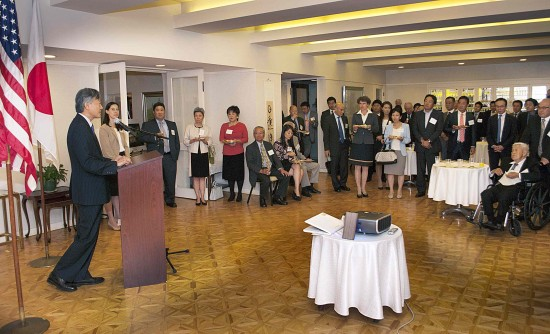 Consul General Harry Horinouchi, in addressing 60 invited guests at his official residence, expressed his hopes for a vibrant, sustainable Little Tokyo community. (Photo by Mike Murase)