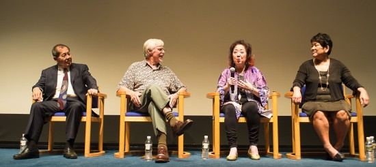 """A panel discussion followed the screening at the Skirball Cultural Center of the new documentary """"Right of Passage,"""" which told the remarkable story of Japanese American redress. The panel consisted of (from left) Ron Wakabayashi, former JACL national director; Professor Emeritus Art Hansen; Miya Iwataki of the National Coalition for Redress and Reparations; and producer/director Janice D. Tanaka. (Photo by Michael C. Palma)"""