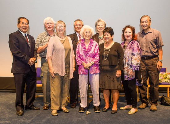 """Right of Passage"" documentary screening and program at the Skirball Cultural Center drew several individuals knowledgeable in the story of Japanese American redress. Among those in attendance were (from left) Ron Wakabayashi, Art Hansen, Nancy Araki, Ron Ikejiri, Aiko Herzig Yoshinaga, Rose Ochi, Janice Tanaka, Miya Iwataki and Alan Nishio. (Photo by Michael C. Palma)"