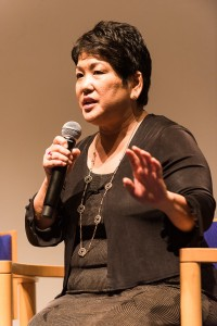 """Filmmaker Janice D. Tanaka answers a question about her new documentary, """"Right of Passage,"""" which tells the story of how Japanese American won redress and an official apology from the U.S. government for their unfair treatment during World War II. The film was screened at the Skirball Cultural Center, followed by a brief panel discussion. (Photo by Michael C. Palma)"""
