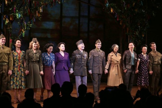 "The cast of ""Allegiance,"" including Lea Salonga (fourth from left), George Takei and Telly Leung, takes a curtain call."