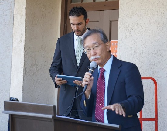 Andy Noguchi, co-president of Florin JACL, with Basim El-Karra, executive director of CAIR-SV.