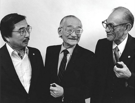 "Gordon Hirabayashi, Minoru Yasui and Fred Korematsu in a promotional shot for Steven Okazaki's 1984 documentary ""Unfinished Business: The Japanese American Internment Cases."""