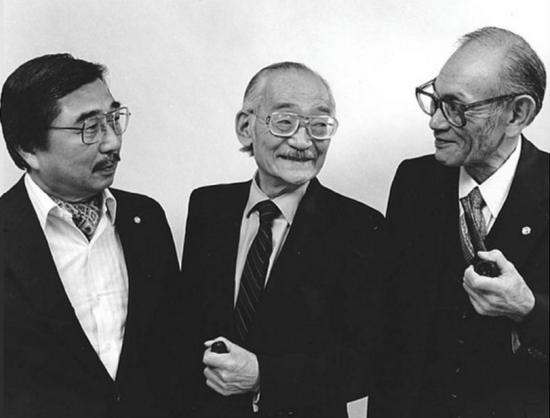 "Gordon Hirabayashi, Minoru Yasui and Fred Korematsu in a promotional shot for Steven Okazaki's 1984 documentary ""Unfinished Business: The Japanese American Internment Cases."""