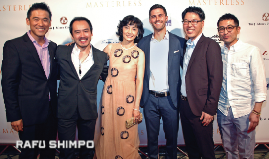 "Kaho Minami was on hand for the Sept. 30 world premiere of ""Masterless"" at the Egyptian Theatre in Hollywood with cast members (from left) Yutaka Takeuchi, Eijiro Ozaki and Adam LaVorgna, director Craig Shimahara, and executive producer Keita Ideno. (MIKEY HIRANO CULROSS/Rafu Shimpo)"