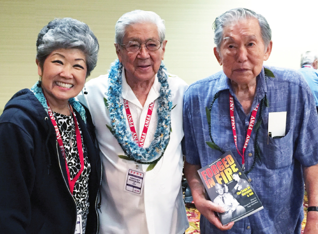 "From left: Yuri Ogawa, Hiroshi ""Hershey"" Miyamura, and 100th Battalion C Company veteran James Ogawa, who turned 92 on Oct. 25."