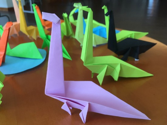 Kids will learn how to make origami dinosaurs.