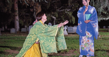 "Sachiyo K and Alpha Takahashi in ""The Grove of Rashomon,"" currently playing at the Mountain View Mausoleum and Cemetery in Altadena. (Photo by Daniel Kitayama/Unbound Productions)"