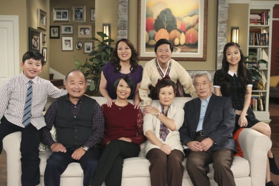 """The cast of """"Dr. Ken"""" with guest stars Clyde Kusatsu, Jeanne Sakata, Dana Lee, and Alexis Rhee."""