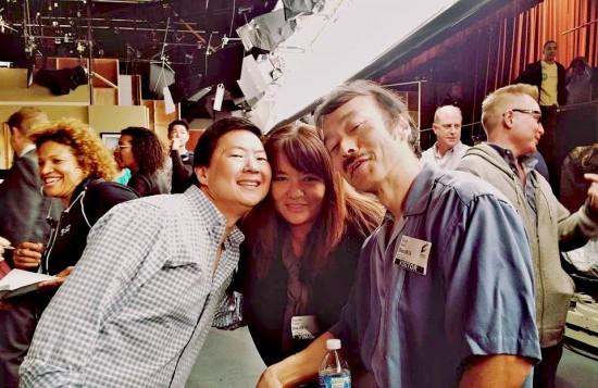 After the taping: Ken Jeong, Toshi Iinuma and Guy Aoki.