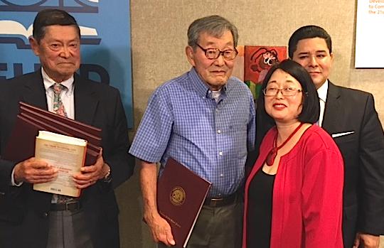From left: Nob Fukuda, Somao Ochi, SFUSD Board President Emily Murase, SFUSD Superintendent Richard Carranza.