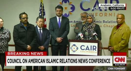 The CAIR-LA press conference was broadcast on CNN. Speakers included Ken Inouye from JACL's Pacific Southwest District (third from left).