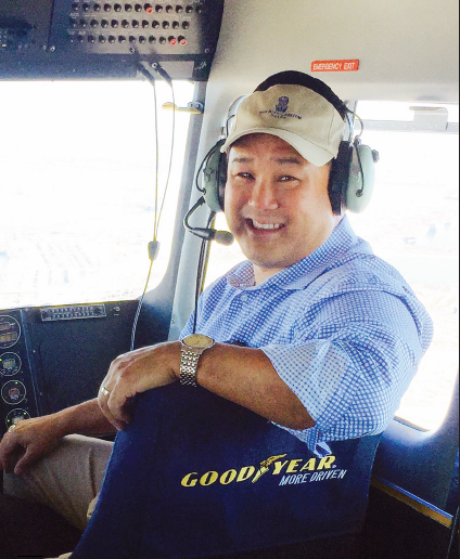 Judd Matsunaga rides aboard the Goodyear Blimp.