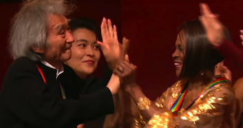 Seiji Ozawa and fellow honoree Cicely Tyson at the Kennedy Center Honors gala. (CBS)