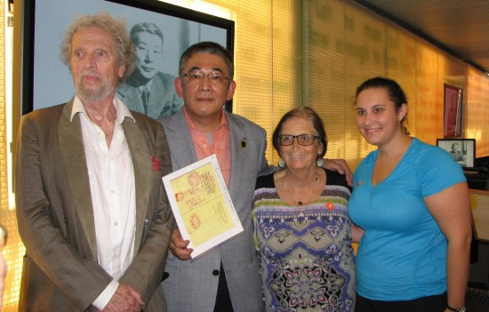 "From left: Leon Prochnik, Tetsuya Sugihara, Arlene Milrad, whose father was among the ""Sugihara Survivors,"" and her daughter Robyn Klitzky."