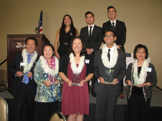 Back row, from left: PSW District Award recipients Betty Hung, Sean Miura and Craig Ishii (representing Kizuna). Front row, from left: Chapter honorees George Kita (representing Marilynn Nakata), Alice Ishigame-Tao, Jennifer Okabayashi, Jean-Paul deGuzman, and Seiko Watkins.