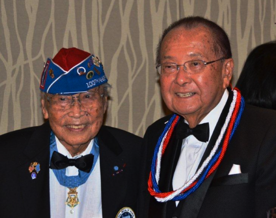 George Sakato (left) and fellow Medal of Honor recipient Sen. Daniel Inouye of Hawaii.