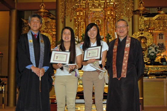 From left: Rev. John Iwohara; Senior Padma Award recipients Lindsay Yoshiyama and Teri Sakatani; Rev. Nobuo Miyaji.