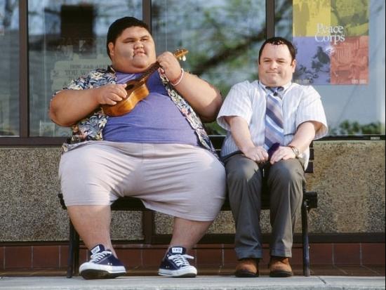 "Joshua Shintani and Jason Alexander in a scene from ""Shallow Hal."""
