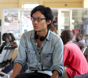 "Takeshi Fukunaga filming "" in Liberia."