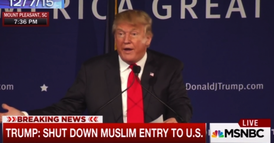 Donald Trump's proposal to ban Muslims from entering the U.S. during a rally on Dec. 7 in South Carolina drew cheers and applause from his supporters. (MSNBC)