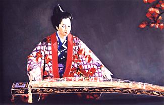 絵画に描かれた、箏を弾く照屋勝子