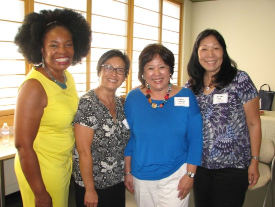 The 1975-76 contingent (from left): Gael Pullen, Amy Kato (event committee member), Linda Inouye, Arlene Yee.